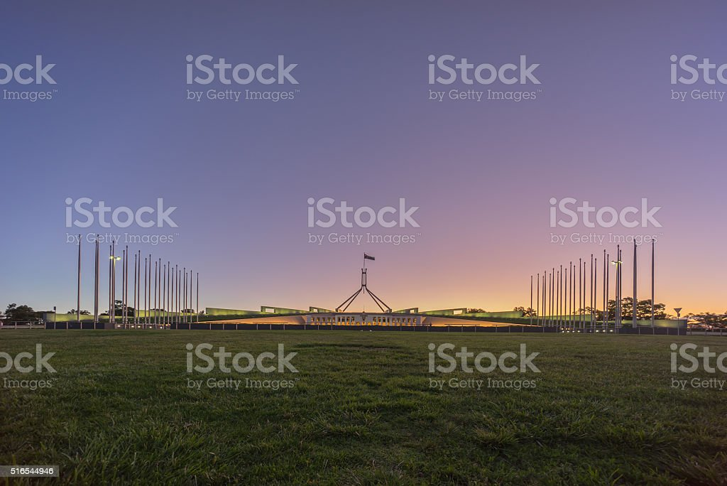 Beautiful scene of sunset at Parliament House Canberra, Australi stock photo