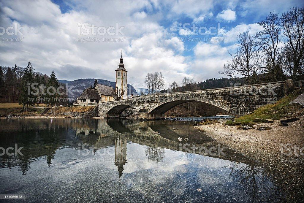 Beautiful Scene on Lake Bohinj, Slovenia stock photo