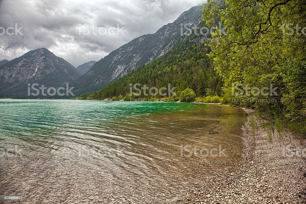 Beautiful scenery around Heiterwanger lake (Heiterwanger See), Austria stock photo