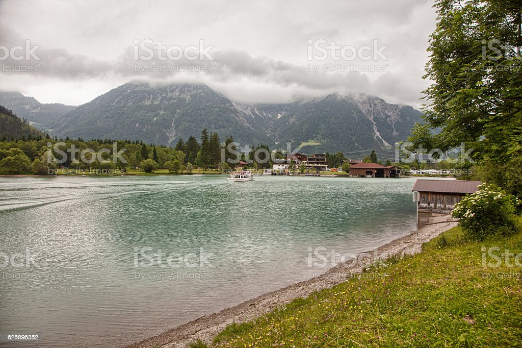 Beautiful scenery around Heiterwanger lake (Heiterwanger See), Austria stock photo