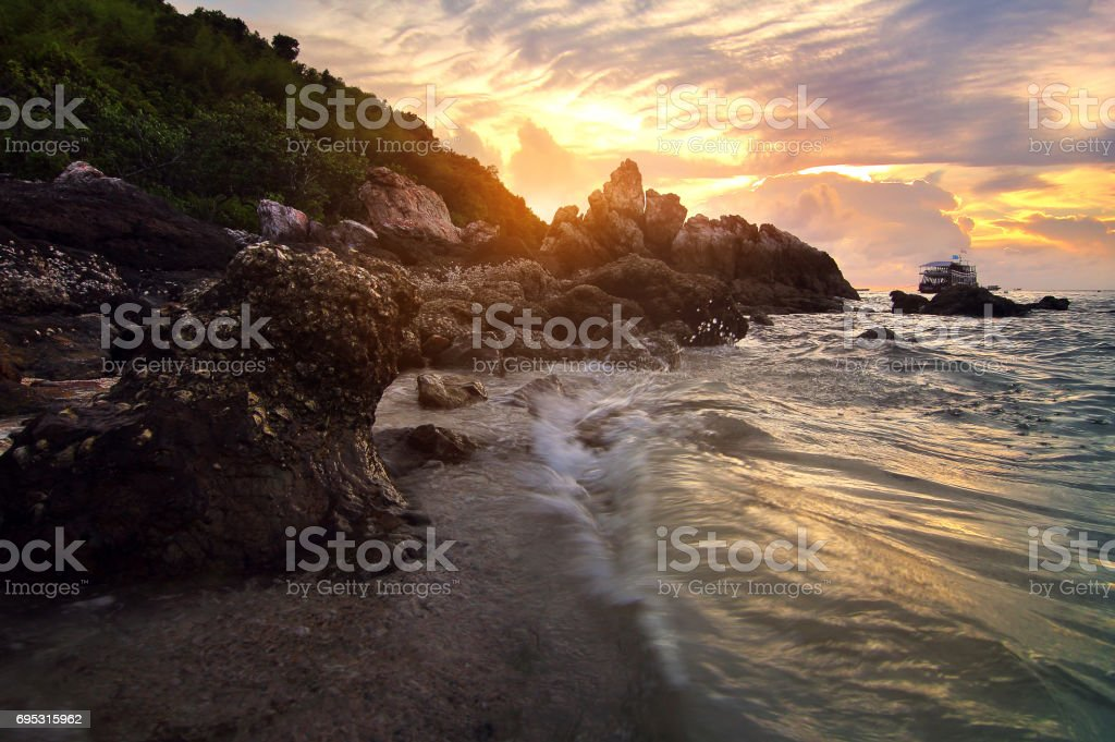 Beautiful scenery during sunset of Ta Yai Beach, koh lan at Chon Buri province in  Thailand .This is very popular for photographers and tourists. Travel and natural Concept stock photo