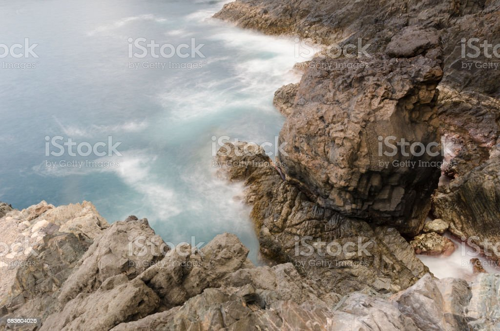 Beautiful scenery in the Ajuy Caves at Fuerteventura, Spain stock photo