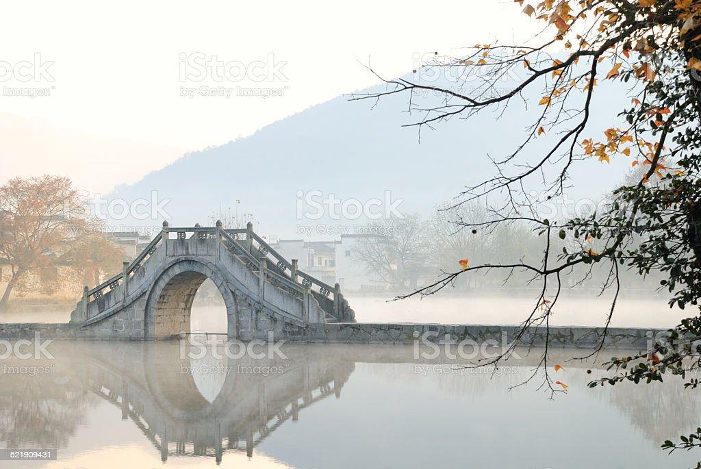 Beautiful scenery of a Lake's Bridge stock photo