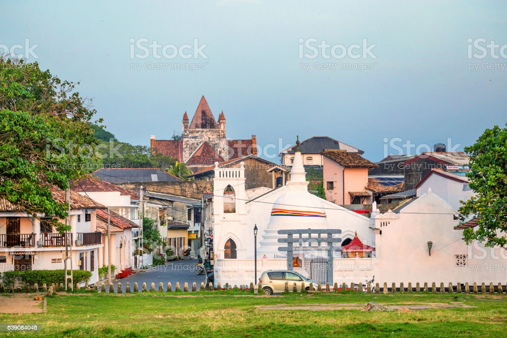 Beautiful scenery of ancient Dutch Galle Fort stock photo