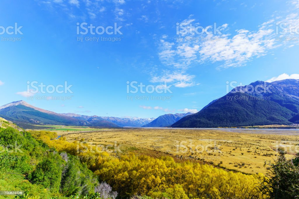 Beautiful scenery of Arthur's pass National Park in Autumn , South Island of New Zealand stock photo