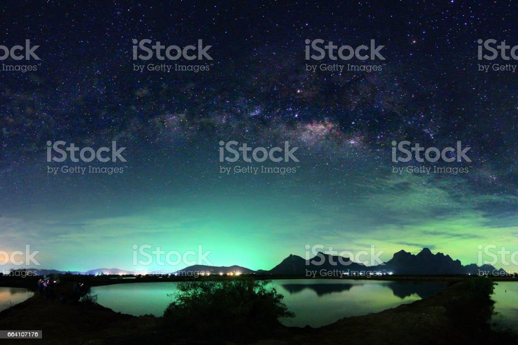 Beautiful scenery of the milky way on night sky at Khao Sam Roi Yot National Park,Prachuap Khiri Khan Province in Thailand. Long exposure shooting and high iso used make this photo have noise. stock photo