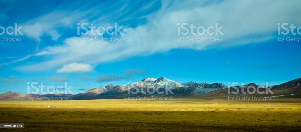 Beautiful scenery with great snowcap mountain in Tibet . stock photo