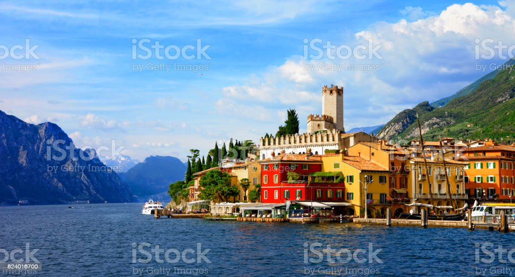 Beautiful scenic Lago di Garda - view of Malcesine village. Italy stock photo