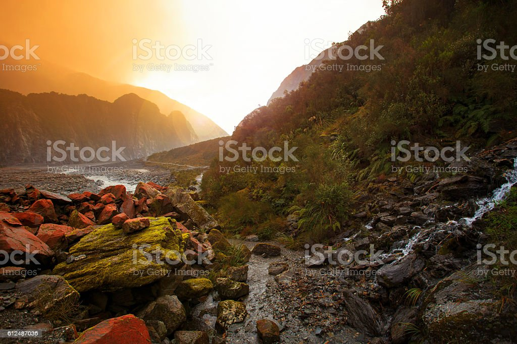 beautiful scenic of fox glacier south island new zealand stock photo