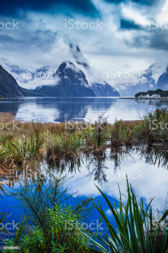 beautiful scenic of milfordsound fiordland national park important traveling destination in south island new zealand stock photo
