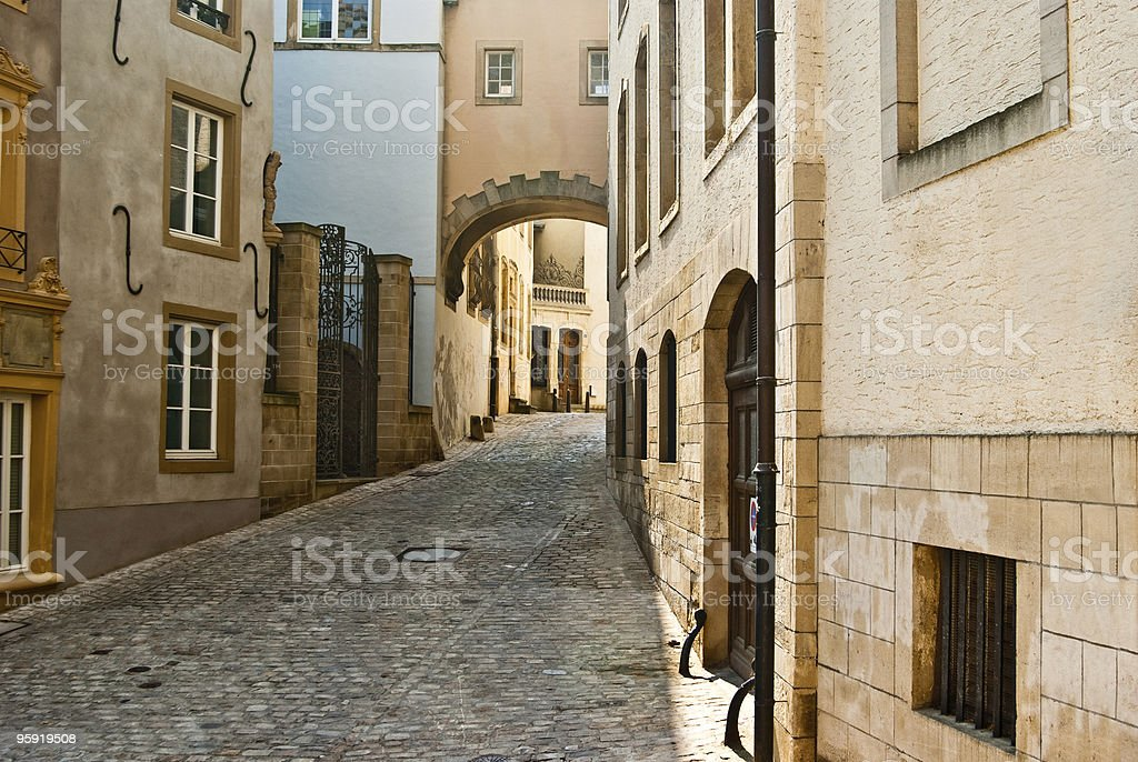 Beautiful scenic street in Luxembourg. stock photo