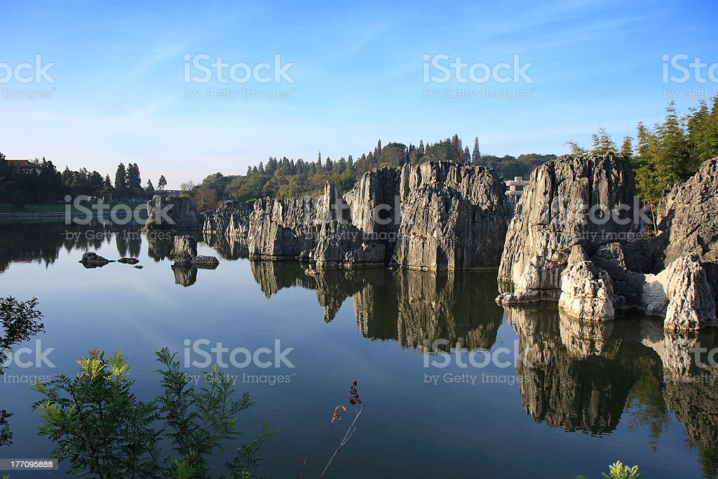 Beautiful scenic view of Shilin Stone Forest National Park stock photo