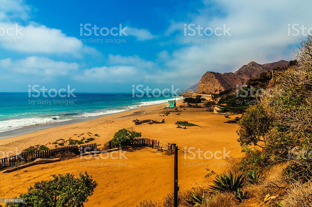 Beautiful scenic view on a lonesome beach stock photo