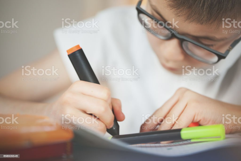 Beautiful schoolboy doing homework at home stock photo