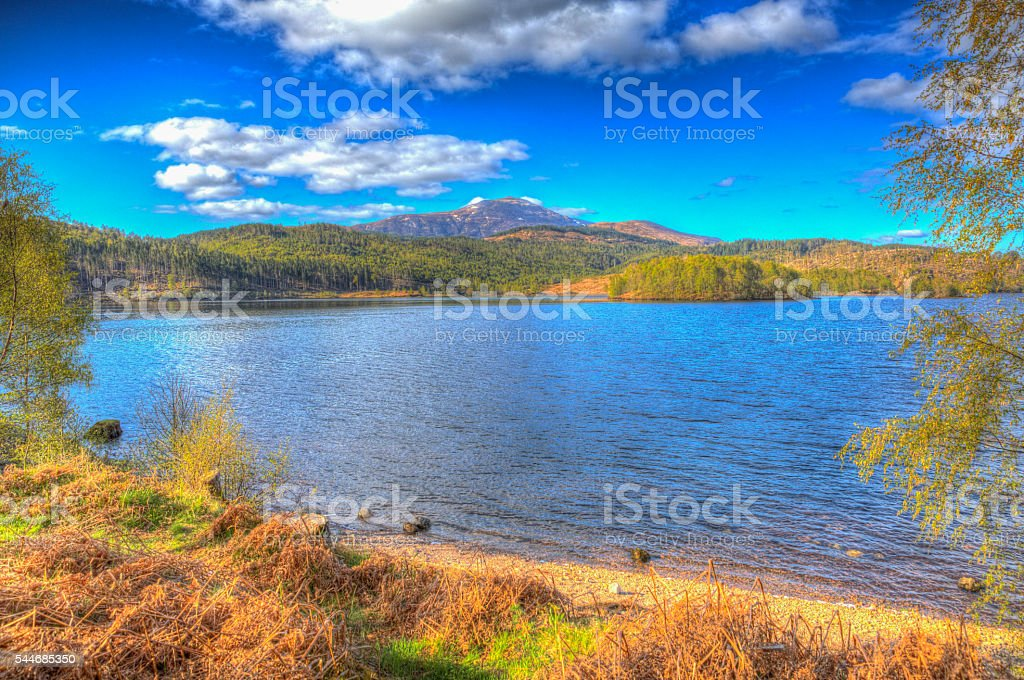 Beautiful Scottish Loch Garry Scotland UK in colourful hdr stock photo
