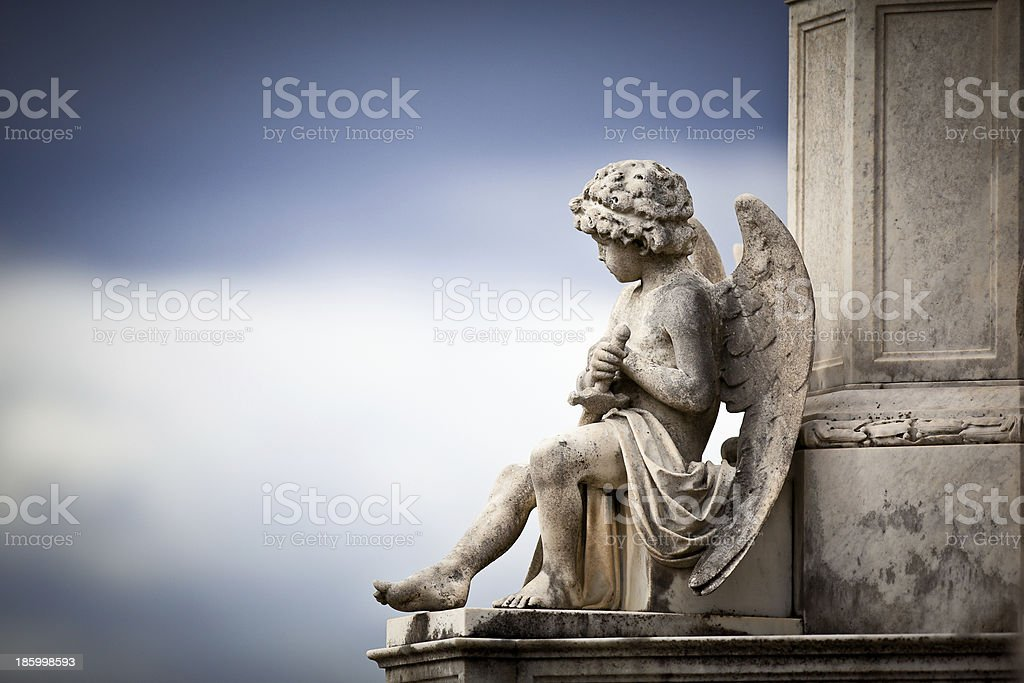 Beautiful Sculpture at a Melbourne Cemetery stock photo