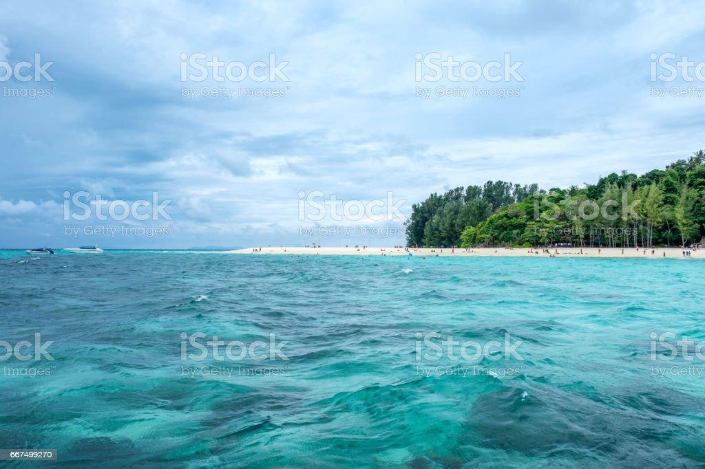 Beautiful sea beach in bamboo island stock photo