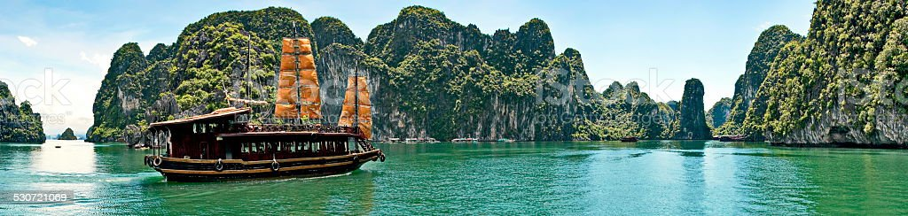 Beautiful sea gulf surrounded high mountains,Ha long bay, Vietnam stock photo