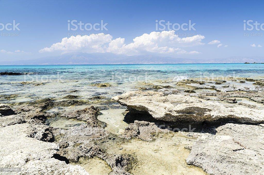 Beautiful Sea in Crete, Chrissi Island stock photo