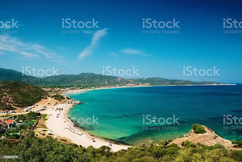 Beautiful sea landscape on Chalkidiki isle in Greece stock photo