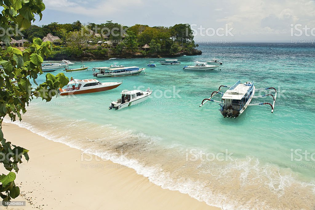 A beautiful sea landscape with boats stock photo