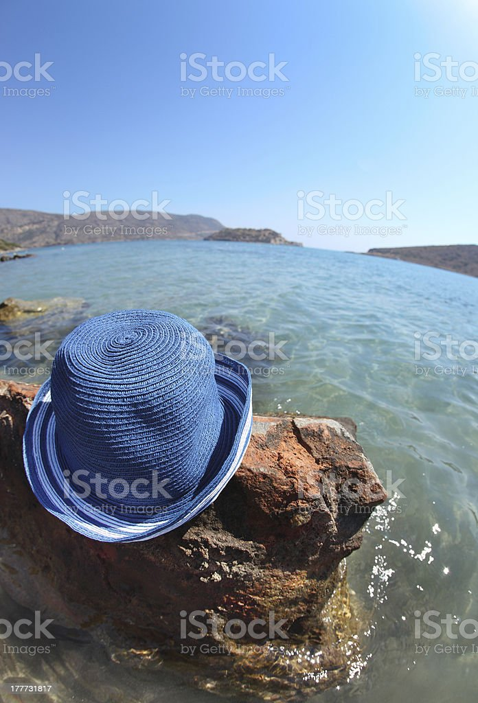 Beautiful sea landscape with hat. Elounda royalty-free stock photo