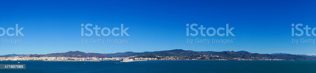 Beautiful sea panorama of Malaga city, Spain royalty-free stock photo