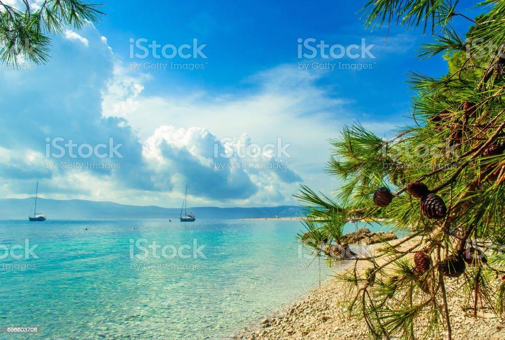 Beautiful sea view on island Brac in Croatia stock photo