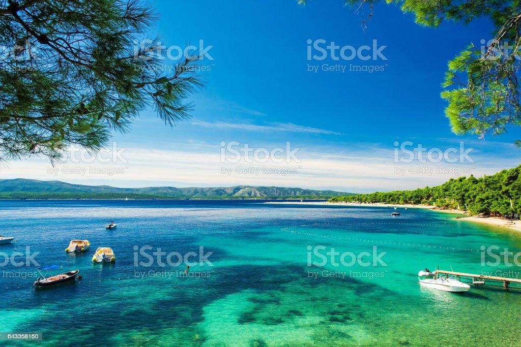 Beautiful sea view with beach Zlatni Rat or Golden Cape stock photo