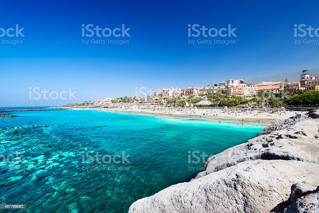 Beautiful sea water of tropical El Duque beach stock photo