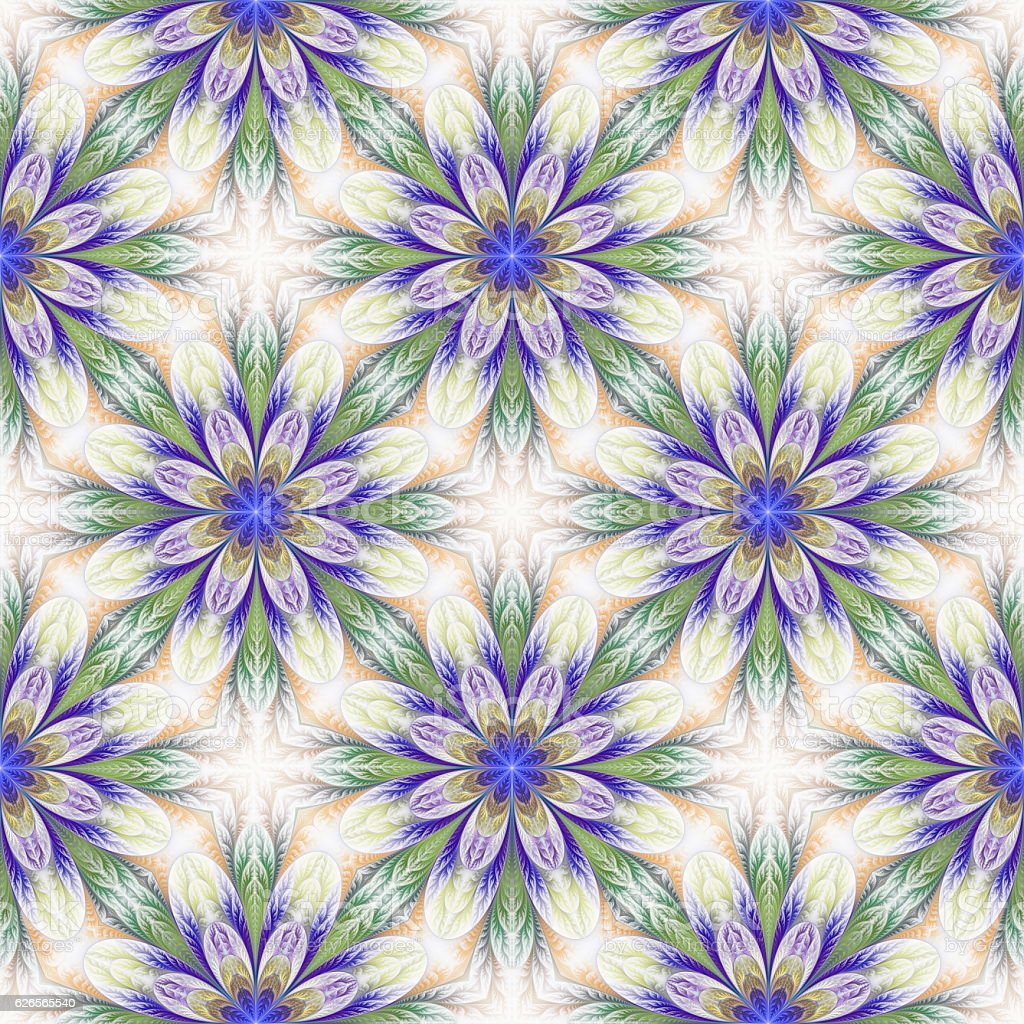 Beautiful seamless flower pattern in fractal design. stock photo