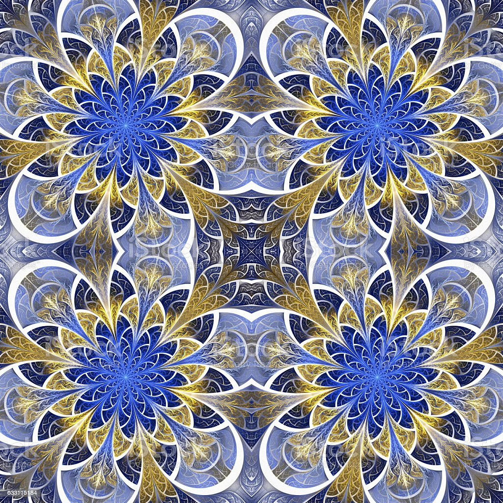 Beautiful seamless flower pattern in stained-glass window style. stock photo