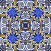 Beautiful seamless flower pattern in stained-glass window style.