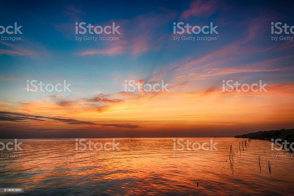 beautiful seascape and twilight sky stock photo