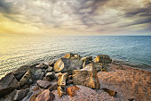 Beautiful seascape. beautiful rocky seashore. Rock on coast. Nature composition
