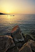 Beautiful seascape. beautiful rocky seashore. Rock on coast. Nature composition