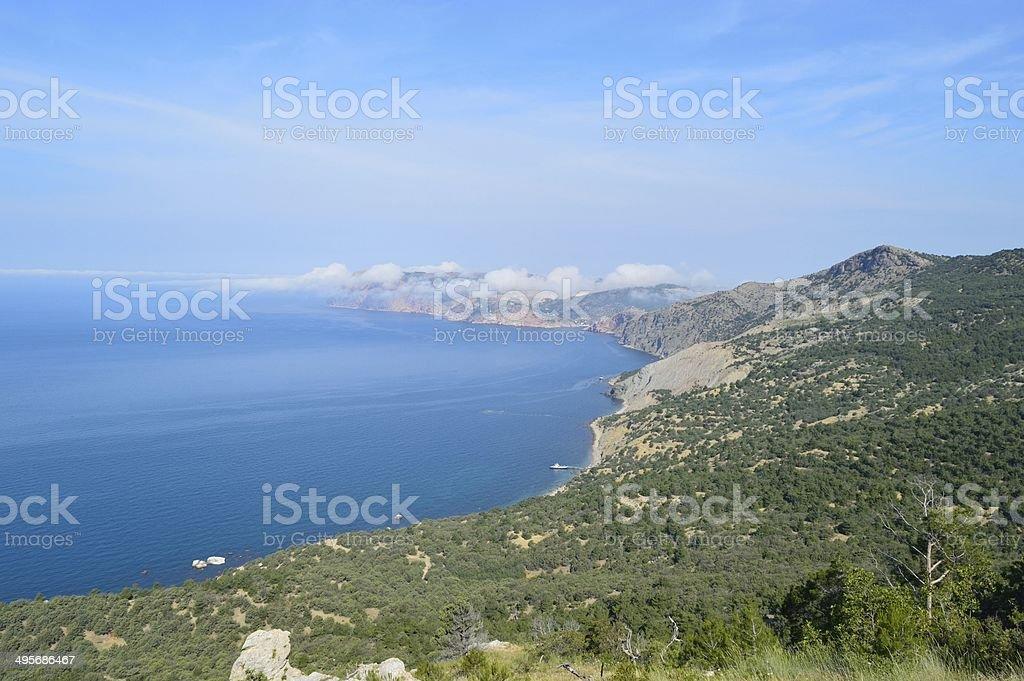 Beautiful seascape in mountains of Crimea stock photo