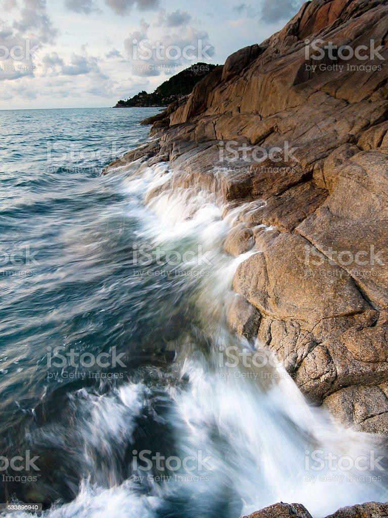 Beautiful seascape. Sea and rock stock photo