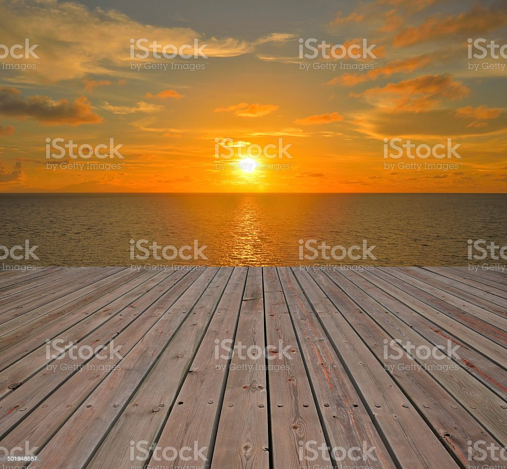 Beautiful seascape -- sea in sunset stock photo