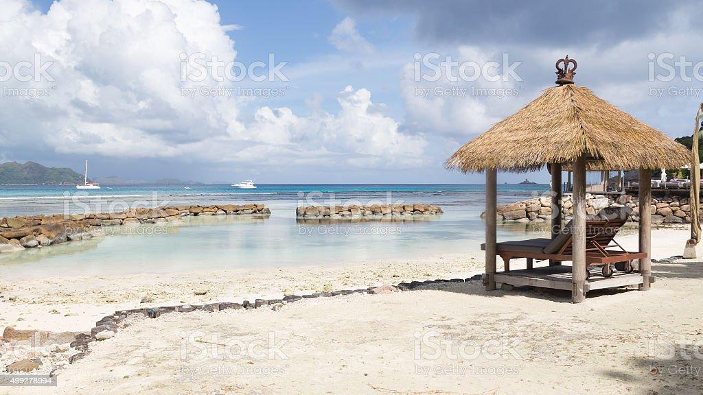 beautiful seascape Seychelles beach stock photo