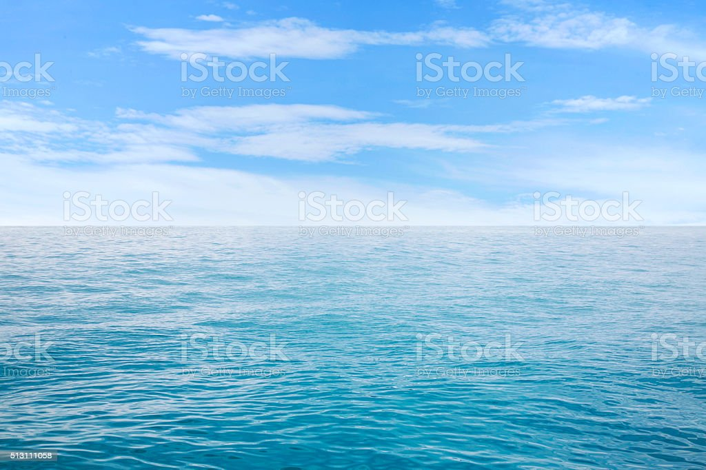 Beautiful seascape under blue sky with clouds stock photo