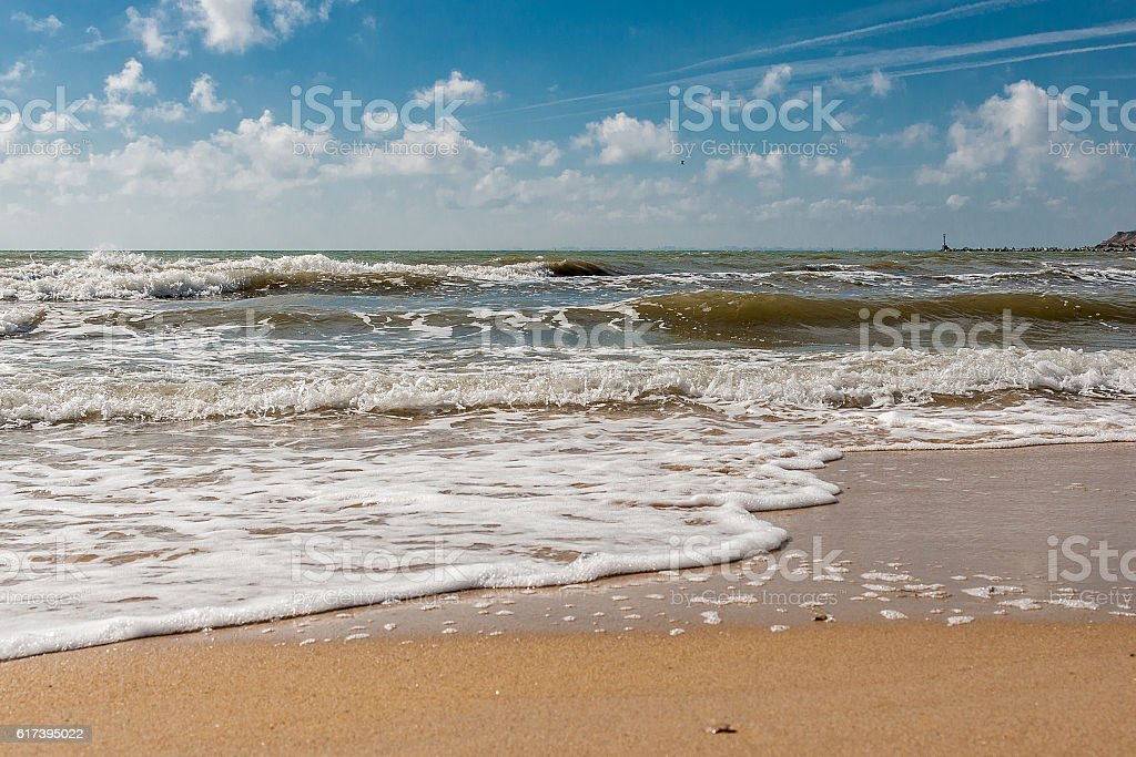 Beautiful seascape, warm autumn sunny day and the waves stock photo
