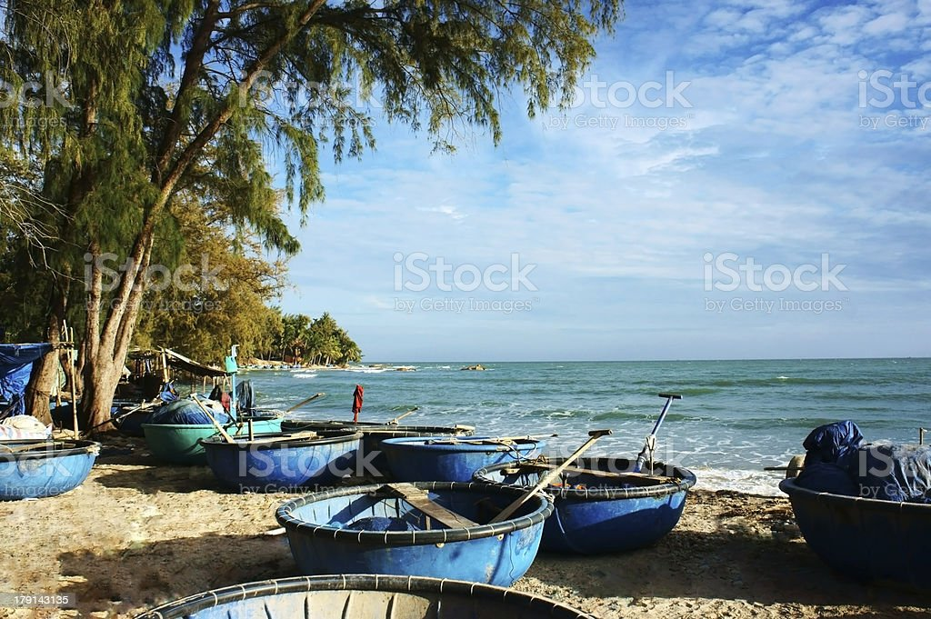 Beautiful seascape with coracles royalty-free stock photo