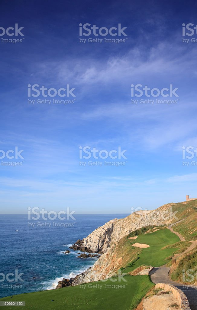 Beautiful Seaside Golf Hole in the Tropics stock photo