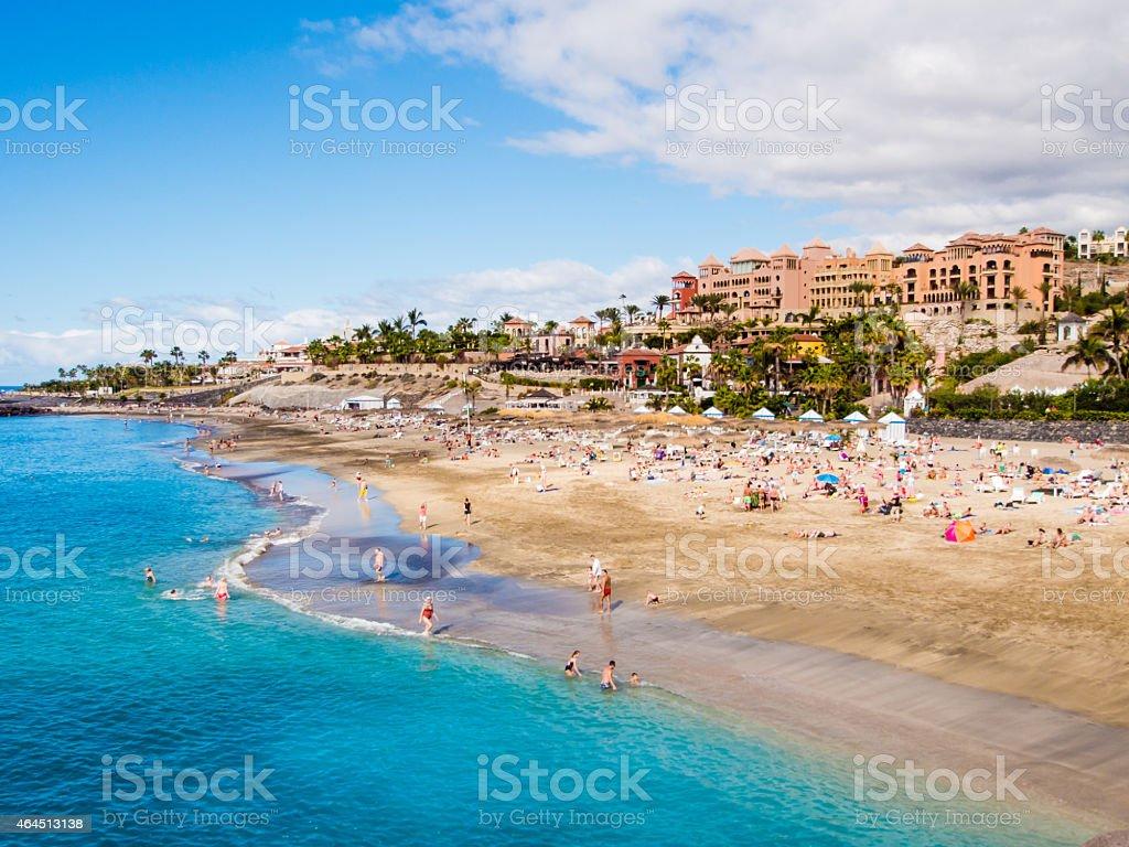 Beautiful seaside view of El Duque beach, Costa Adeje stock photo