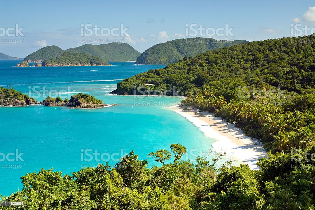 Beautiful Secluded Tropical Beach in the Caribbean stock photo