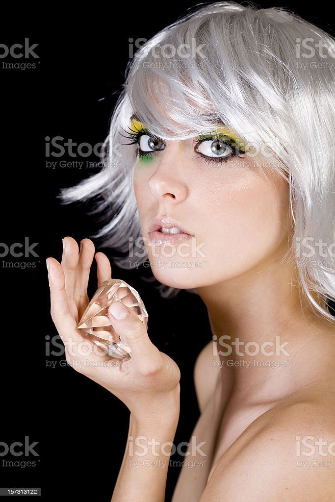 Beautiful, Seductive Female Fashion Model in Wig with Diamond, Portrait royalty-free stock photo