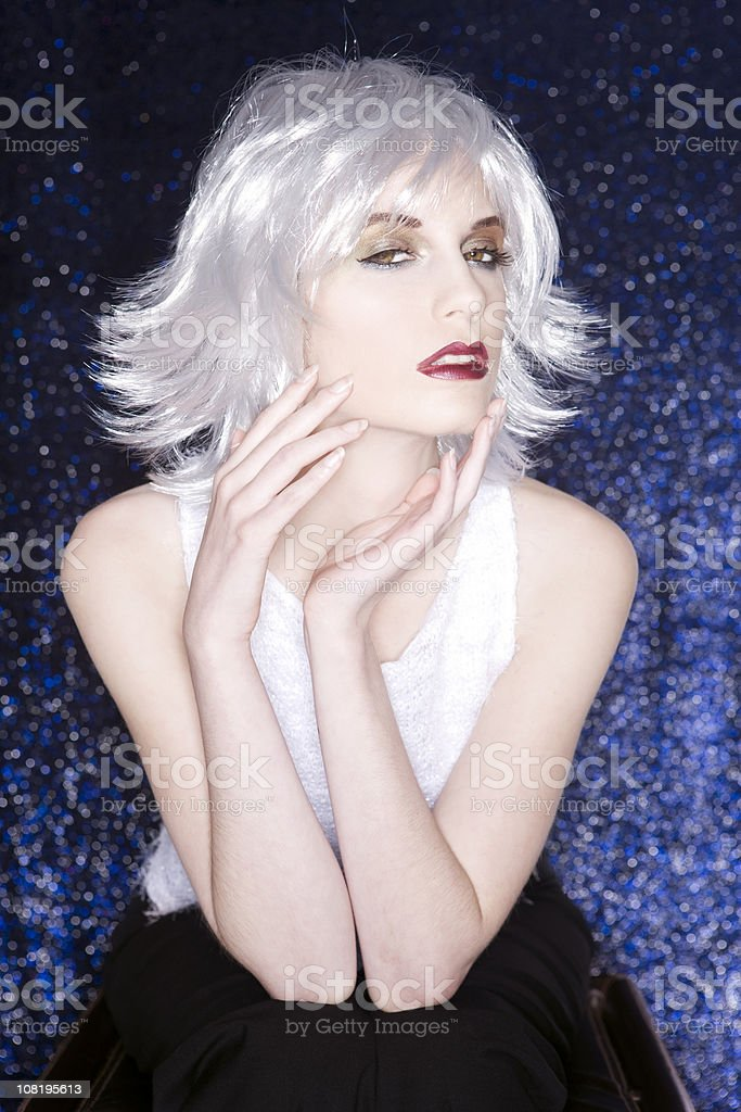 Beautiful Seductive Young Woman Fashion Model with White Hair royalty-free stock photo