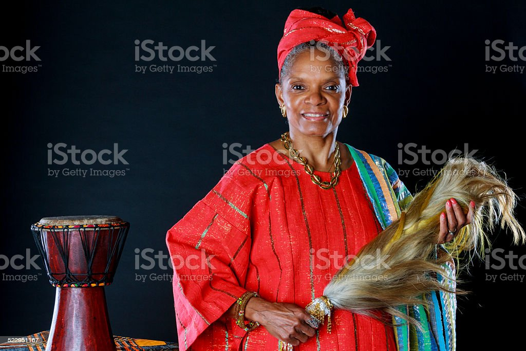 Beautiful Senior African American Female Storyteller stock photo