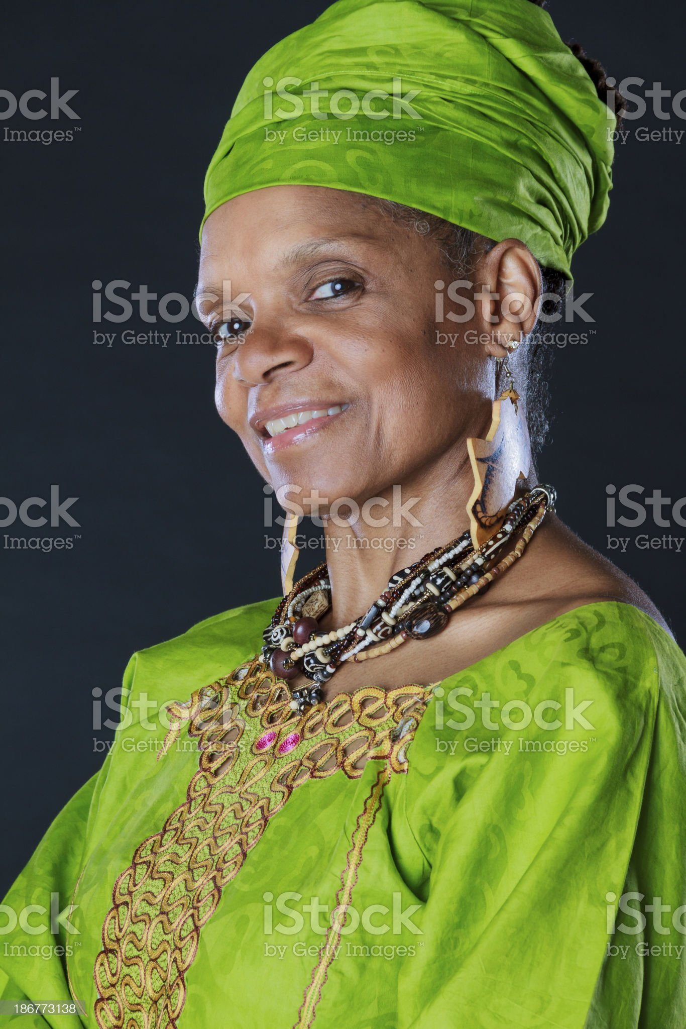 Beautiful Senior African American Woman In Colorful Attire royalty-free stock photo